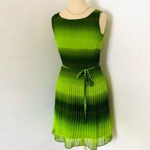 Amanda Lane Pleaded Green Ombré Dress Sz 4 GUC